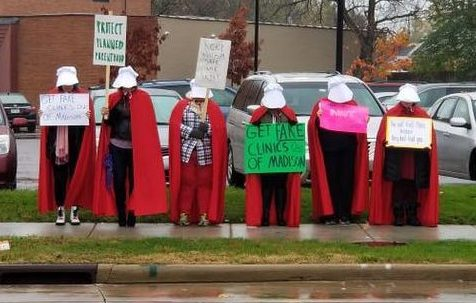Photo of demonstration in front of Access Women's Center