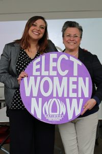 Wisconsin NOW president Lindsay Lemmer with Cathy Myers
